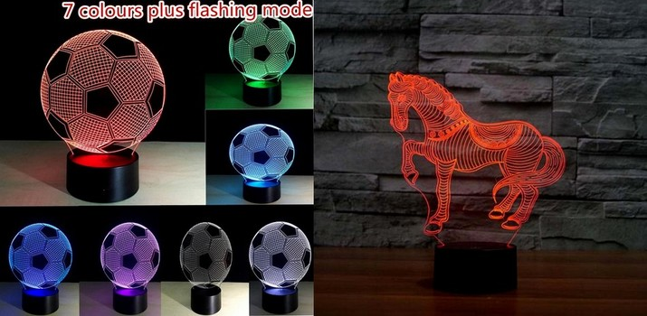 2 Pieces New 3D Soccer Ball And Horse Running Night Light 3D LED USB 7 Color Change LED Table Lamp