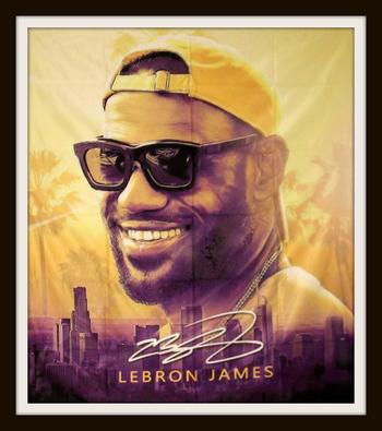 "NBA LeBron James ""Living the Life"" Canvas Art  60"" x 50"" Retail $199.99"