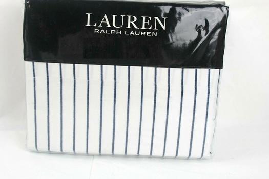 Ralph Lauren Spencer Stripe 475TC Cotton CAL/KING 4-Pc Sheet Set Navy/White Retail $220.00
