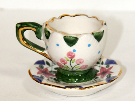 Dollhouse Miniature Cups & Saucers Hand Pained