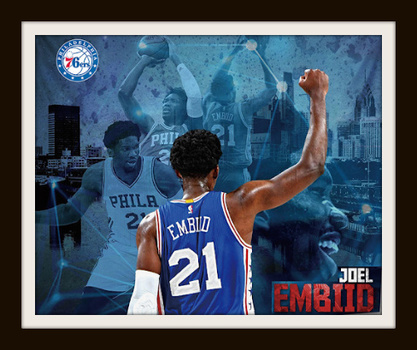 "NBA Joel Embiid ""Man with Meaning"" Canvas Art Print 60"" x 50"" Retail $199.99"