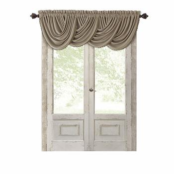 "Elrene Home Fashions Blackout Energy Efficient Rod Pocket Window Curtain Drape Regal Solid Valance, 52"" x 36"", Taupe"