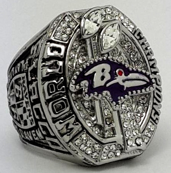 Baltimore Ravens 2012 Super Bowl XLVII Championship Replica Ring Size 10