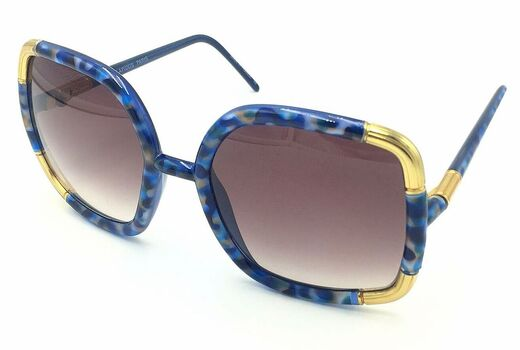 Ted Lapidus Woman's Jade Blue with Gold Accents Sunglasses Retail $599.99 MADE IN FRANCE