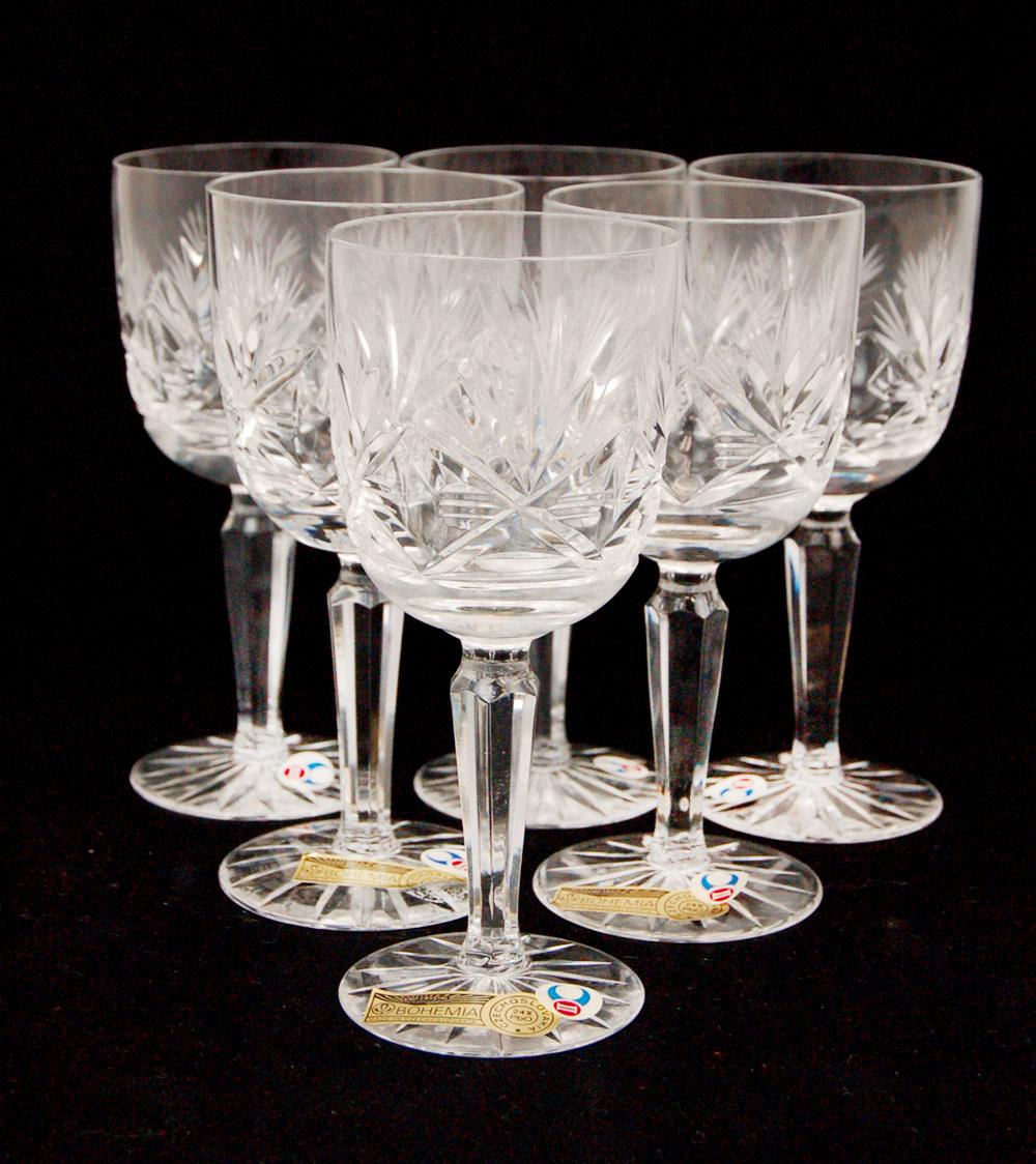 Estate Sale 6pcs Bohemia Crystal Hand Made In Czechoslovakia Property Room
