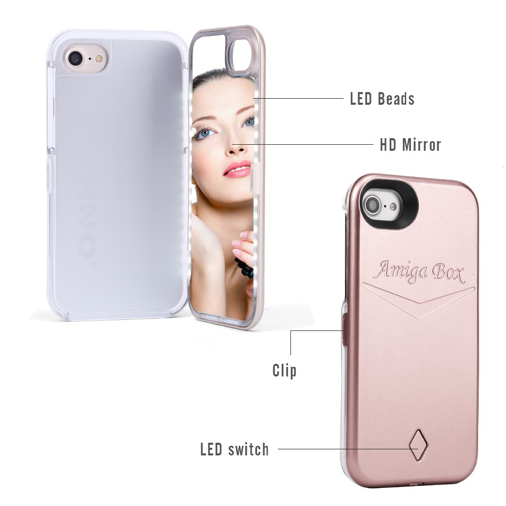 the best attitude 79c9a 76d52 Amiga Box iPhone Case with LED Selfie Light and Built-In Mirror ...