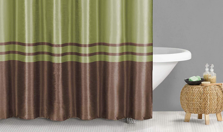Duck River Textile Sabrina Faux Silk Stripe Mildew Resistant Shower Curtain 70 X 72