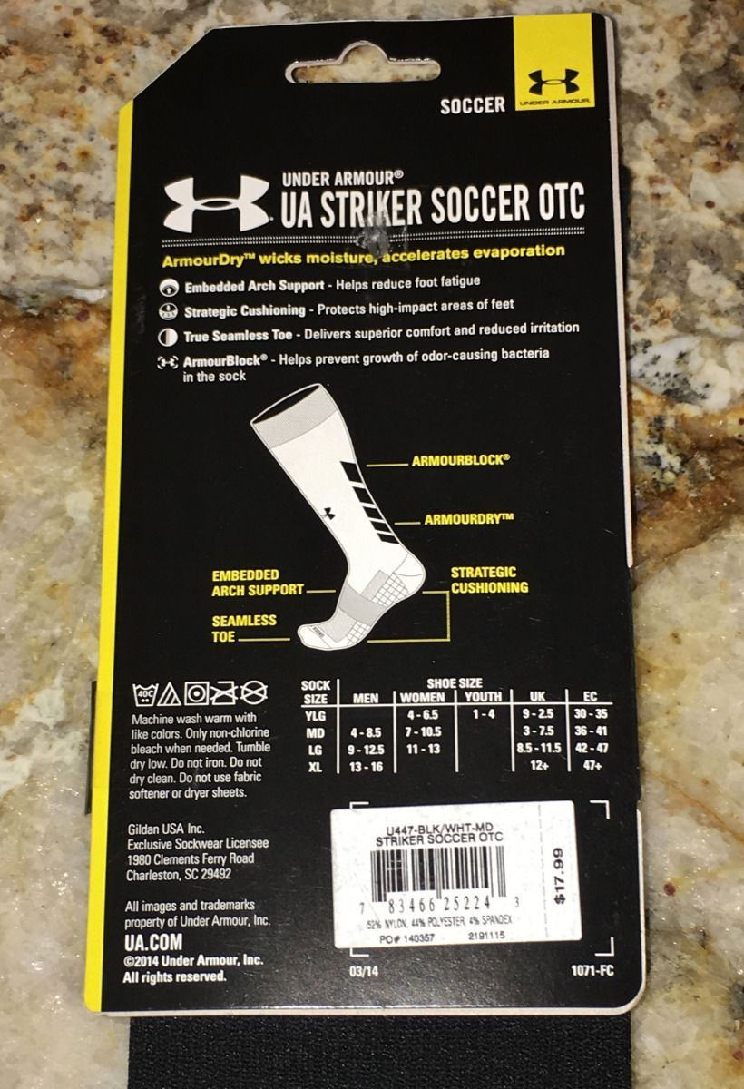 ac8b56a02a25 Under Armour Striker OTC Soccer Socks Mens Sz M