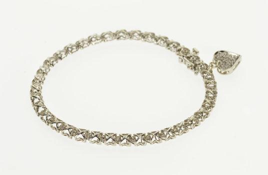 "10K 0.10 Ctw Diamond Encrusted X Criss Cross Link White Gold Bracelet 7.25"""