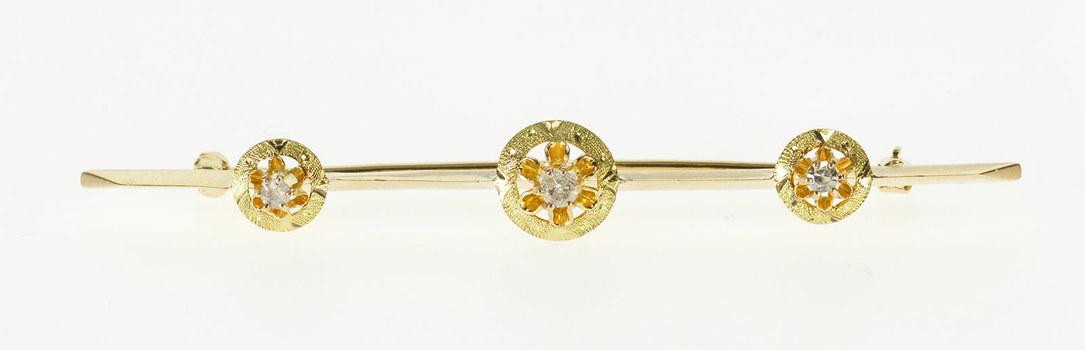 10K 0.10 Ctw Victorian Ornate Diamond Bar Yellow Gold Pin/Brooch