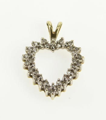 10K 0.15 Ctw Diamond Heart Halo Anniversary Gift Yellow Gold Pendant