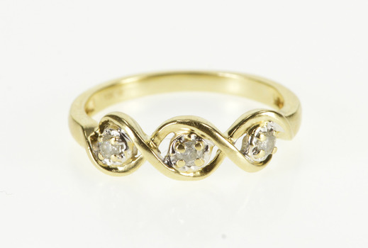 10K 0.15 Ctw Diamond Inset Spiral Design Engagement Yellow Gold Ring, Size 7