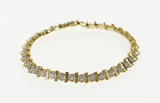 "10K 0.16 Ctw Diamond Inset Wavy Link Tennis Yellow Gold Bracelet 6.75"""