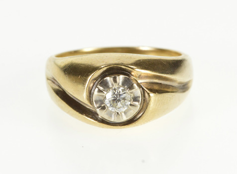 10K 0.18 Ctw Diamond Solitaire Rounded Engagement Yellow Gold Ring, Size 7