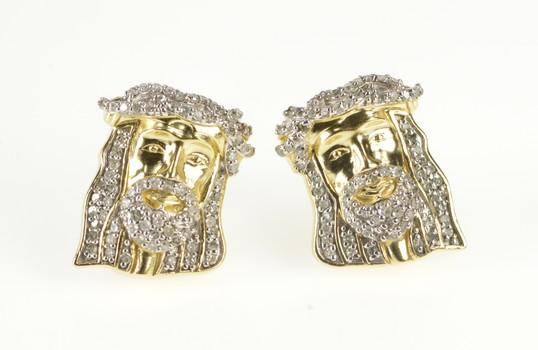 10K 0.20Ctw Pave Diamond Jesus Christ Stud Christian Yellow Gold Earrings