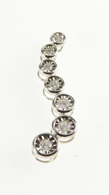 10K 0.25 Ctw Diamond Graduated Wavy Curvy White Gold Pendant
