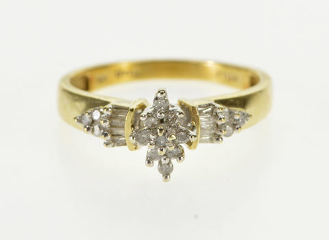 10K 0.25 Ctw Diamond Inset Cluster Engagement Yellow Gold Ring, Size 7