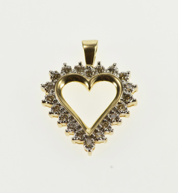 10K 0.25 Ctw Diamond Inset Encrusted Heart Cut Out Yellow Gold Pendant