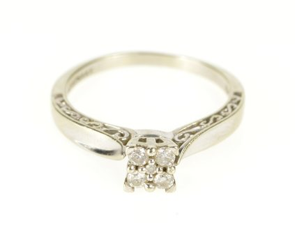 10K 0.25 Ctw Diamond Square Cluster Engagement Yellow Gold Ring, Size 7.75