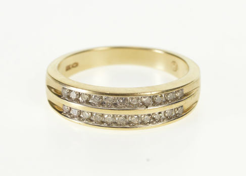 10K 0.25 Ctw Tiered Diamond Channel Wedding Band Yellow Gold Ring, Size 6.75