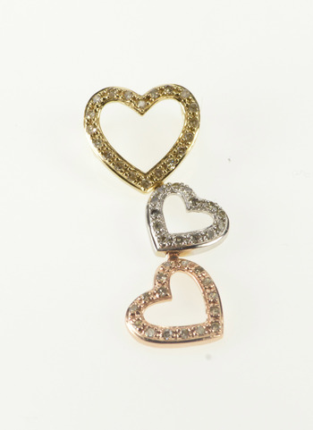 10K 0.25 Ctw Tri Tone Tiered Heart Valentine Love Yellow Gold Pendant