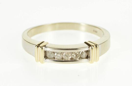 10K 0.25Ctw Channel Diamond Two Tone Men's Wedding White Gold Ring, Size 12.5