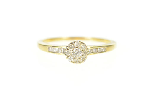 10K 0.30 Ctw Round Diamond Halo Engagement Yellow Gold Ring, Size 11
