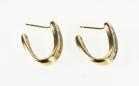 10K 0.36 Ctw Channel Inset Diamond Wavy Semi Hoop Yellow Gold EarRings