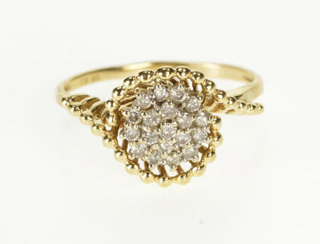 10K 0.40 Ctw Round Diamond Cluster Cocktail Yellow Gold Ring, Size 10.25