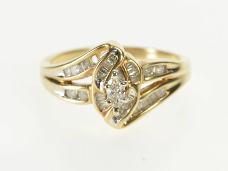 10K 0.42 Ctw Marquise Diamond Ornate Engagement Yellow Gold Ring, Size 7