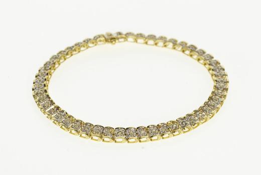"10K 0.50 Ctw Diamond Curved Bar Link Tennis Yellow Gold Bracelet 7.25"""
