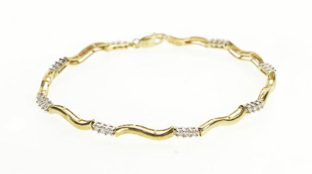 "10K 0.50 Ctw Diamond Wavy Curvy Bar Link Tennis Yellow Gold Bracelet 7"""