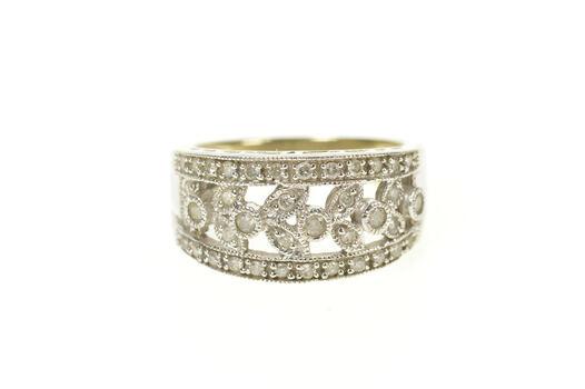 10K 0.50 Ctw Pave Diamond Leaf Vine Ornate Band White Gold Ring, Size 6.5