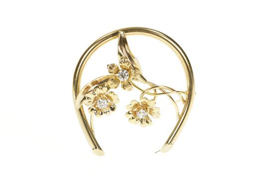 10K 0.51 Ctw Diamond Flower Horse Shoe Statement Yellow Gold Pin/Brooch