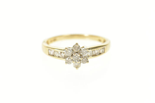 10K 0.52 Ctw Diamond Flower Cluster Promise Yellow Gold Ring, Size 6.75