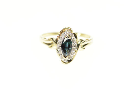 10K 0.52 Ctw Marquise Sapphire Diamond Halo Yellow Gold Ring, Size 7.25