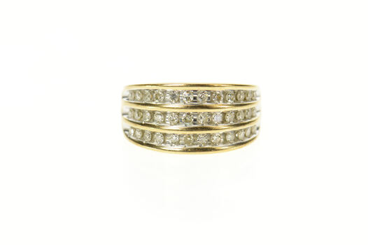 10K 0.54 Ctw Tiered Diamond Graduated Band Yellow Gold Ring, Size 6.75