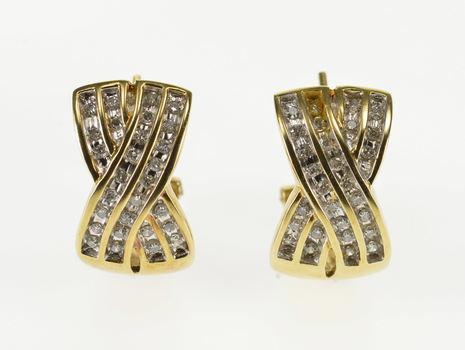 10K 0.56 Ctw Criss Cross X Diamond Channel French Back Yellow Gold EarRings