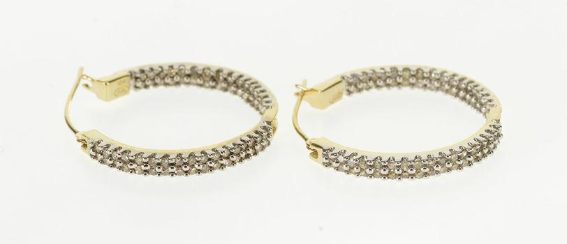 10K 0.60 Ctw Diamond Encrusted Squared Hoop Yellow Gold EarRings