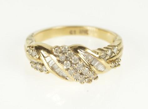 10K 0.61 Ctw Diamond Wavy Cluster Statement Yellow Gold Ring, Size 6.75