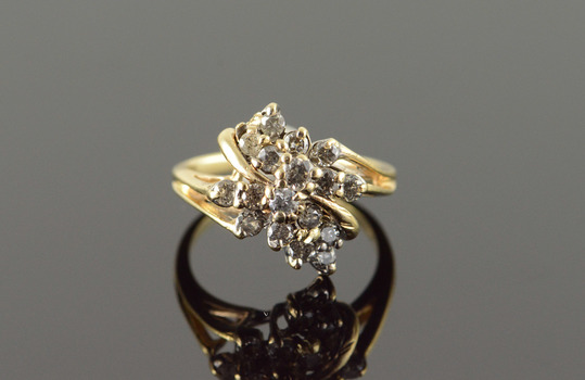 10K 0.65 CTW Diamond Cluster Yellow Gold Ring, Size 6.25