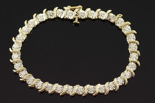 "10K 0.65 CTW Diamond Tennis Yellow Gold Bracelet 6.5"""