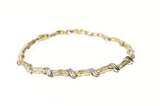 "10K 0.67 Ctw Two Tone Diamond Wavy Tennis Yellow Gold Bracelet 7.25"""