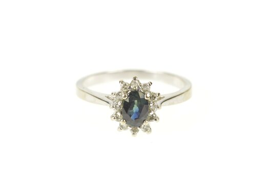 10K 0.68 Ctw Sapphire Diamond Halo Engagement White Gold Ring, Size 6