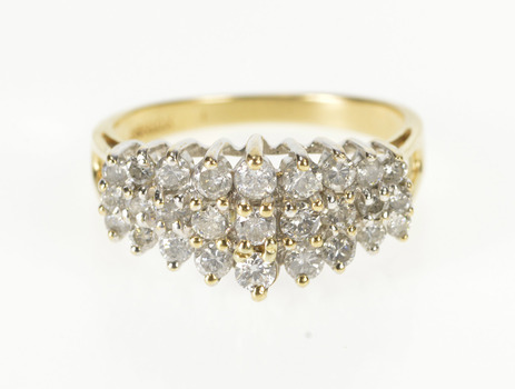 10K 0.75 Ctw Graduated Tiered Diamond Band Yellow Gold Ring, Size 7