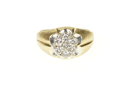 10K 0.77 Ctw 1960's Men's Retro Round Cluster Yellow Gold Ring, Size 9.5