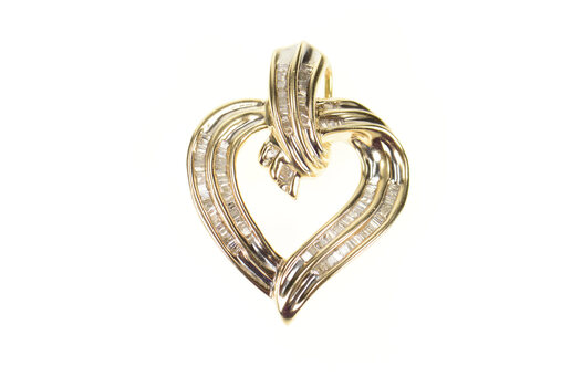 10K 0.77 Ctw Baguette Diamond Encrusted Heart Yellow Gold Pendant
