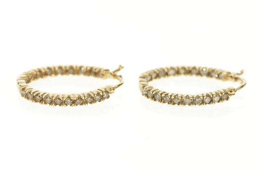 10K 0.80 Ctw Diamond Inside Outside Hoop Yellow Gold Earrings