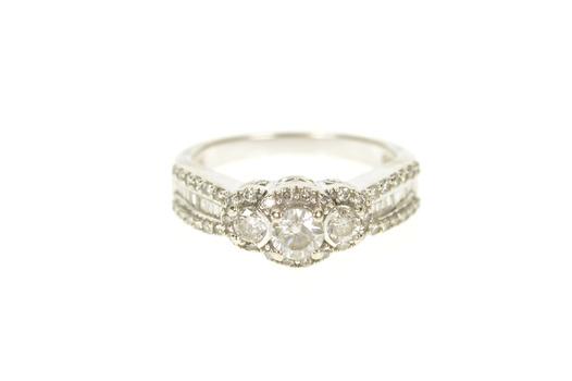 10K 0.86 Ctw Three Stone Diamond Halo Engagement White Gold Ring, Size 7