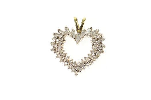 10K 0.90 Ctw Diamond Cluster Classic Heart Yellow Gold Pendant